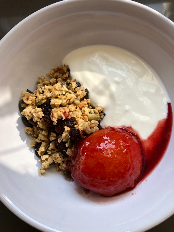 Poached Plum with Homemade Granula