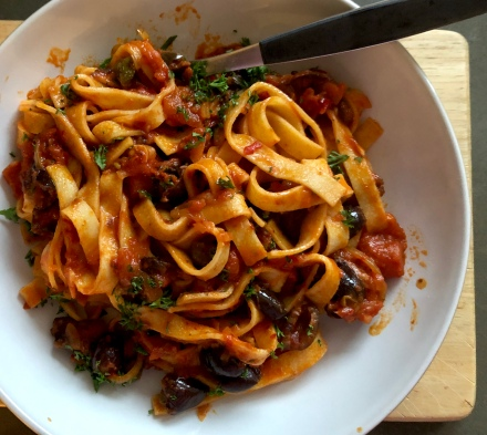 pasta with olives and anchovy