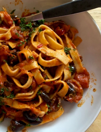 pasta with olives, anchovies and harissa