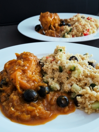 chicken in onion gravy with couscous